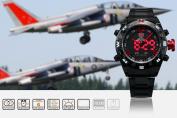 SHARK Mens LED Date Day Digital Black Red Army Sport Quartz Wrist Watch