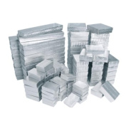 100 Silver Cotton Filled Boxes/ Assorted Sizes 100 Silver Cotton Filled Boxes/ Assorted Sizes