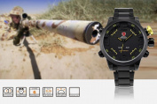 SHARK Fashion Mens LED Digital Date Day Sport Black Stainless Steel Quartz Wrist Watch