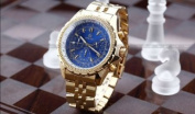 Orkina Mens Blue Dial 6 Hands Golden Strap Sport Quartz Wrist Watch Gift