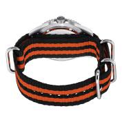 Stuhrling Original Men's 907.331OF1 Aquadiver Regatta Bravura Swiss Quartz Date Black and Orange Canvas Strap Watch