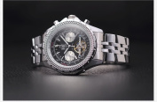 KS Stainless Automatic Mechanical Tourbillon Mens Black Dial Date Day Wrist Watch