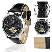 Orkina Silver Stainless Steel Case Chrono Skeleton Dial Black Leather Strap Wrist Watch KC042LB