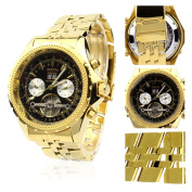 Orkina Gold Colour Case Black Chronograph Skeleton Dial Stainless Steel Wrist Watch KC082SGB