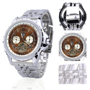Orkina Silver Case Brown Chronograph Hallow Dial Stainless Steel Wrist Watch KC082SSB