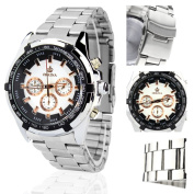 Orkina Silver Case White Chronograph Dial Stainless Steel Strap Wrist Watch PO014-SSW