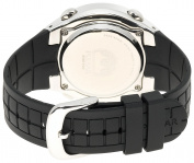 Pulsar Men's PR2003 Digital Chronograph Silver-Tone Black Resin Strap Watch