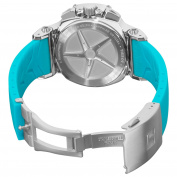 Tissot Women's T0482171701702 T-Race White Dial Blue Silicone Strap Watch