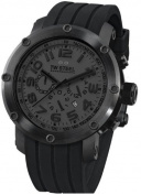 Stainless Steel Case Quartz Chronograph Black Dial Date Display Black Rubber Strap