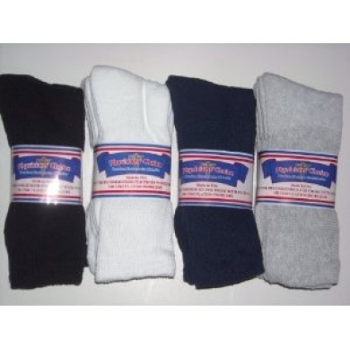 Diabetic Socks,12 Pair CREW LENGTH,PHYSICIANS CHOICE,4 Colours-BLACK,NAVY,WHITE,LIGHT grey- Size 10-13 Mens