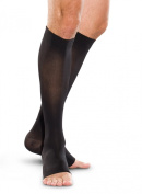 Truform BRAND 20-30 mmhg Below Knee Soft Top Compression Stockings Open Toe Black 2X-large