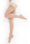BriteLeafs Thigh High Compression Stockings Firm Support 20-30 mmHg, Stay-Up Lace Top, Silicone Band, Profssional Grade Graduated Compression - Beige, Medium, Closed Toe