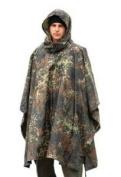 Brand New Fashion Us Waterproof Hooded Ripstop Wet Festival Rain Poncho Flecktarn Camo