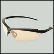 Nightfire Safety Glasses, Wraparound Black Frame, Gold Mirror Lens