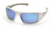 Pyramex Goliath Safety Eyewear, White Frame, Ice Blue Mirror Lens