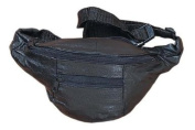 Small Black Leather Fanny Pack Waist Bag for Travel or Hiking - Main Compartment Approximately 16.5cm X 10.2cm X 6.4cm