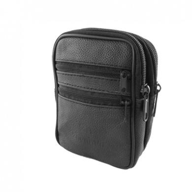 Como Black Fauxl Leather 4 Zippered Pocket Belt Loop Waist Bag