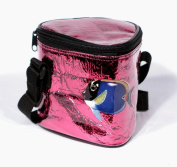 Insulated Small Tropical Fish Beach Cooler Bag, Hold 3 Cola Size Cans 14cm x 14cm Red