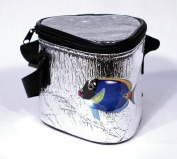 Insulated Small Tropical Fish Beach Cooler Bag, Hold 3 Cola Size Cans 14cm x 14cm White