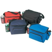 Black - 6 pack poly cooler w/ bottle Holder & Small Pouch