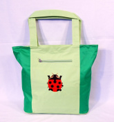 Waterproof Green Embroidered Ladybug Canvas Bag Zipper Closure 19 x 40.6cm x 12.7cm