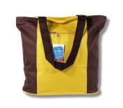 Waterproof Yellow & Brown Canvas Bag Zipper Closure 17 x 35.6cm x 12.7cm