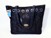 Black Texture Tote With Zipper Pocket In Front 18 x 38.1cm x 9.5cm