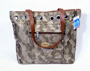 Brown Texture Tote With Zipper Pocket In Front 18 x 38.1cm x 9.5cm