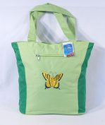 Waterproof Two Tone Green Canvas Beach/Shopping Bag Zipper Closure 17 X 35.6cm x 12.7cm Embroidered Butterfly