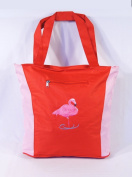 Waterproof Two Tone Red Pink Canvas Beach/Shopping Bag Zipper Closure 17 X 35.6cm x 12.7cm Embroidered Flamingo