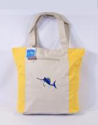 Waterproof Two Tone Yellow Canvas Beach/Shopping Bag Zipper Closure 17 X 35.6cm x 12.7cm Embroidered Sailfish