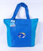 Waterproof Two Tone Blue Canvas Beach/Shopping Bag Zipper Closure 17 X 35.6cm x 12.7cm Embroidered Tropical Fish