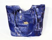 Large Blue Texture Canvas Tote 19 X 38.1cm x 14cm