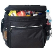 Black - 24-pack Camping Cooler with Easy Access pocket