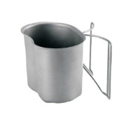 G.I. Type Stainless Steel Canteen Cup With Butterfly Handle - Life Time Warranty