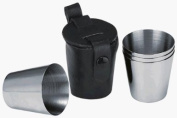 Stainless Steel Shot Cups Set of 4 with Leather Carry Case