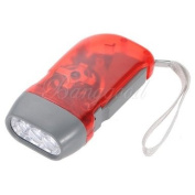 RED 3 LED Hand Press No Battery Wind up Crank Camping Outdoor Flashlight Light Torch