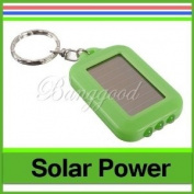 Mini 3 LED Solar Power Rechargeable Flashlight Keychain Torch Light Green New
