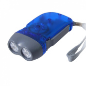 Amico Clear Blue Battery Free Hand-powered 2 LED Flashlight Torch W Hand Strap