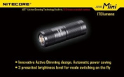Nitecore SENS Mini LED Flashlight w/ Active Dimming, Black, 170 Lumens, Uses NITECORE-SENS-MINI