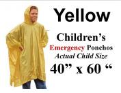 Children's Emergency Waterproof Hooded Poncho Coat Rainwear - Yellow