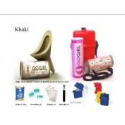 Go Girl, Female Urination Device, Khaki With SIS Waterproof Travel Kit & with Xtra towlettes, Baggies, Tissues & Lip Balm