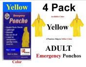 4 PK VAS YELLOW EMERGENCY HOODED RAIN PONCHO -W VAS EMERGENCY POUCH