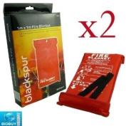 Bid Buy Direct 2 Fire Blankets - 1M X 1M - Ideal For Kitchens, Homes & Caravans