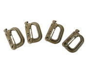 Grimloc D-Ring Locking Molle Carabiner 4pcs Pack Brown