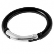Como Portable Mini Aluminium Round Carabiner Hook Keychain Black 2 Pcs