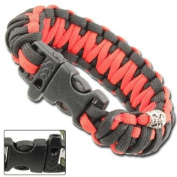 Skullz Survival Whistle 5.2m Paracord Bracelet-Red & Black