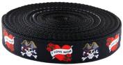 2.5cm Wide I Love Mom Ribbon on Black Heavy Nylon Webbing, 10 Yards