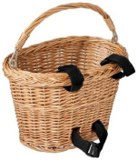 Avenir Wicker Bicycle Basket with Black hook and loop 8 - inch x 10 - inch x 7.5 - inch)