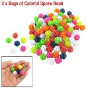 Como 2 Bags Colourful Plastic Clip Spoke Bicycle Beads Decor